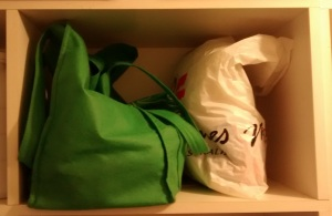 Reusable bags and plastic bags.